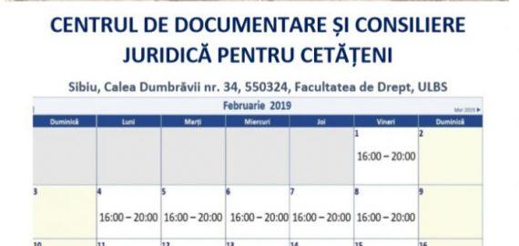 CENTRUL DE DOCUMENTARE ȘI CONSILIERE JURIDICĂ PENTRU CETĂȚENI – orar de lucru luna FEBRUARIE