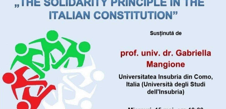Prelegere – The Solidarity Principle In The Italian Constitution