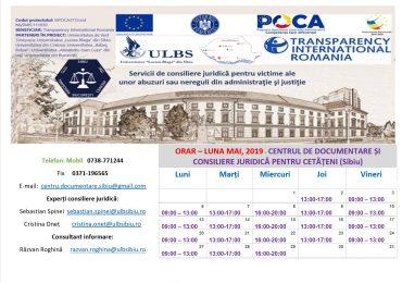 ORAR – LUNA MAI, 2019 – CENTRUL DE DOCUMENTARE ȘI CONSILIERE JURIDICĂ PENTRU CETĂȚENI (CDCJC SIBIU)