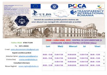 ORAR – LUNA IUNIE, 2019 – CENTRUL DE DOCUMENTARE ȘI CONSILIERE JURIDICĂ PENTRU CETĂȚENI (CDCJC SIBIU)