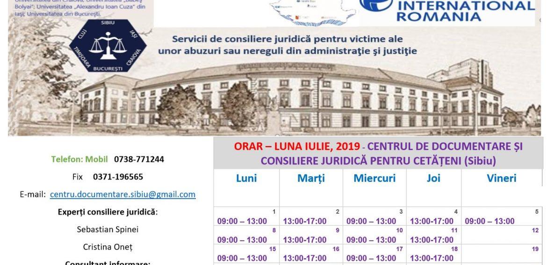 ORAR – LUNA IULIE, 2019 – CENTRUL DE DOCUMENTARE ȘI CONSILIERE JURIDICĂ PENTRU CETĂȚENI (CDCJC SIBIU)
