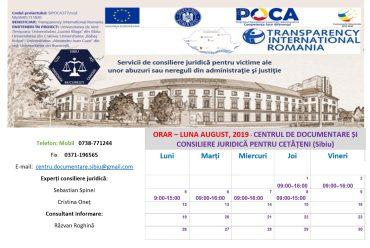 ORAR – LUNA AUGUST, 2019 – CENTRUL DE DOCUMENTARE ȘI CONSILIERE JURIDICĂ PENTRU CETĂȚENI (CDCJC SIBIU)
