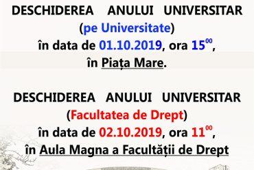 DESCHIDEREA ANULUI UNIVERSITAR 2019-2020