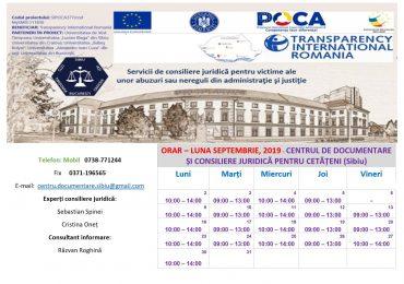 ORAR – LUNA SEPTEMBRIE, 2019 – CENTRUL DE DOCUMENTARE ȘI CONSILIERE JURIDICĂ PENTRU CETĂȚENI (CDCJC SIBIU)