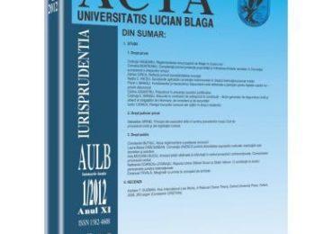 Revista Acta Universitatis Lucian Blaga nr. 1/2012