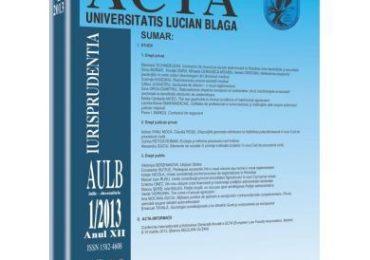 Revista Acta Universitatis Lucian Blaga nr. 1/2013