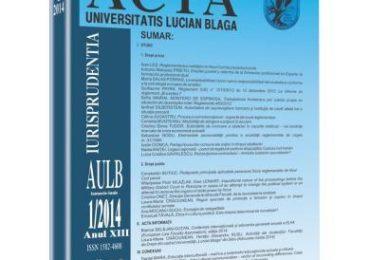 Revista Acta Universitatis Lucian Blaga nr. 1/2014