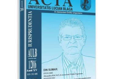 Acta Universitatis Lucian Blaga nr. 1/2016
