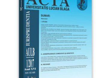 Acta Universitatis Lucian Blaga nr. 1/2017