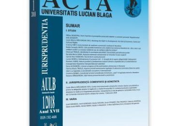 Acta Universitatis Lucian Blaga nr. 1/2018