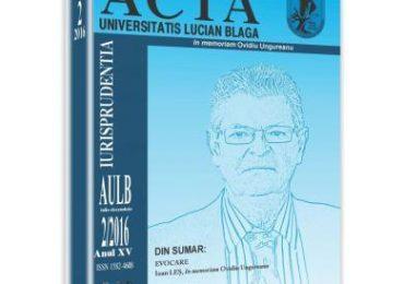 Acta Universitatis Lucian Blaga nr. 2/2016