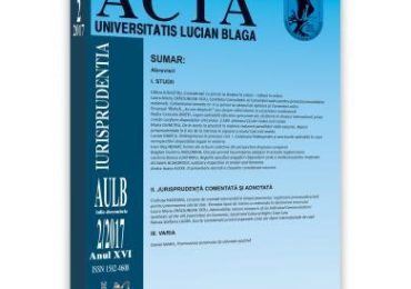 Acta Universitatis Lucian Blaga nr. 2/2017