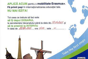 INSCRIERI MOBILITATI ERASMUS + pentru anul 2021-2022
